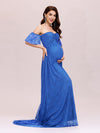 Dainty Off Shoulder High Waist Lace Maxi Evening Maternity Dress-Sapphire Blue 4