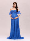 Dainty Off Shoulder High Waist Lace Maxi Evening Maternity Dress-Sapphire Blue 1