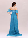 Dainty Off Shoulder High Waist Lace Maxi Evening Maternity Dress-Teal 2