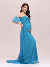 Dainty Off Shoulder High Waist Lace Maxi Evening Maternity Dress-Teal 4