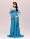 Dainty Off Shoulder High Waist Lace Maxi Evening Maternity Dress-Teal 1