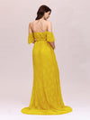 Dainty Off Shoulder High Waist Lace Maxi Evening Maternity Dress-Yellow 2