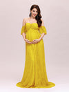 Dainty Off Shoulder High Waist Lace Maxi Evening Maternity Dress-Yellow 3