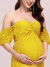 Dainty Off Shoulder High Waist Lace Maxi Evening Maternity Dress-Yellow 5