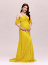 Dainty Off Shoulder High Waist Lace Maxi Evening Maternity Dress-Yellow 1