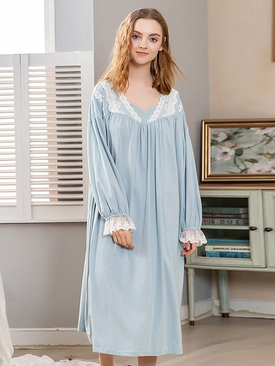 Cute Long Sleeve Pajamas for Girls with Lace