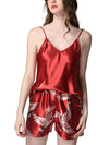 Two Pieces V Neck Nightwear Silk Pajamas-Burgundy 1