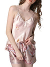 Two Pieces V Neck Nightwear Silk Pajamas-Blush 1
