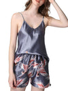 Two Pieces V Neck Nightwear Silk Pajamas-Grey 1