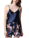 Two Pieces V Neck Nightwear Silk Pajamas-Navy Blue 1