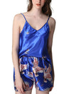 Two Pieces V Neck Nightwear Silk Pajamas-Sapphire Blue 1