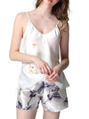 Two Pieces V Neck Nightwear Silk Pajamas-White 1