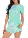 Simple Tie-Dye Two-Piece Pajama Sets For Women-Green 1