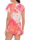 Simple Tie-Dye Two-Piece Pajama Sets For Women-Red 2