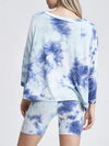 Feminine Loose Round Neck Half Sleeves Tie-Dye Pajama Sets-Sky Blue 2