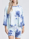 Feminine Loose Round Neck Half Sleeves Tie-Dye Pajama Sets-Sky Blue 1