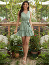 V Neck Sleeveless Adjustable Buttoned Tiered Short Summer Dress-Mint Green 2