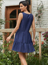 Beautiful V Neck Sleeveless Gypsy Embroidered Layered Short Summer Dress-Navy Blue 2