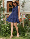Beautiful V Neck Sleeveless Gypsy Embroidered Layered Short Summer Dress-Navy Blue 4