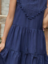 Beautiful V Neck Sleeveless Gypsy Embroidered Layered Short Summer Dress-Navy Blue 3
