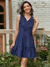 Beautiful V Neck Sleeveless Gypsy Embroidered Layered Short Summer Dress-Navy Blue 1
