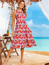 Round Neck Floral Sleeveless Summer Dress-Red 3