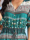 V Neck Mid Sleeve Buttons Floral Printed Beach Dress-Green 5