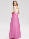 Women'S Elegant Round Neckline Floor Length Bridesmaid Dress-Hot Pink 2