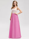 Women'S Elegant Round Neckline Floor Length Bridesmaid Dress-Hot Pink 3