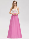 Women'S Elegant Round Neckline Floor Length Bridesmaid Dress-Hot Pink 4