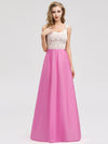 Women'S Elegant Round Neckline Floor Length Bridesmaid Dress-Hot Pink 1