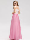 Women'S Elegant Round Neckline Floor Length Bridesmaid Dress-Pink 2