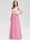 Women'S Elegant Round Neckline Floor Length Bridesmaid Dress-Pink 3