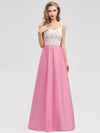 Women'S Elegant Round Neckline Floor Length Bridesmaid Dress-Pink 4