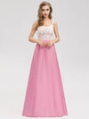 Women'S Elegant Round Neckline Floor Length Bridesmaid Dress-Pink 1