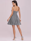 Spaghetti Strap Shiny Pleated Mini Cocktail Dress-Grey 7