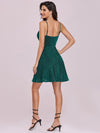 Spaghetti Strap V Neck Shiny Above Knee Cocktail Dress -Dark Green 6