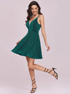Spaghetti Strap V Neck Shiny Above Knee Cocktail Dress -Dark Green 7