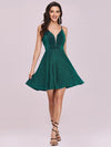Spaghetti Strap V Neck Shiny Above Knee Cocktail Dress -Dark Green 8