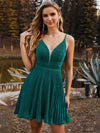 Spaghetti Strap V Neck Shiny Above Knee Cocktail Dress -Dark Green 1