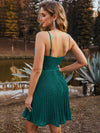 Spaghetti Strap V Neck Shiny Above Knee Cocktail Dress -Dark Green 2