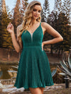Spaghetti Strap V Neck Shiny Above Knee Cocktail Dress -Dark Green 3