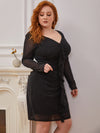 Sexy Short Long Sleeve Plus Size V Neck Cocktail Dress-Black 5