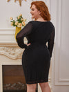 Sexy Short Long Sleeve Plus Size V Neck Cocktail Dress-Black 6