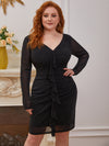 Sexy Short Long Sleeve Plus Size V Neck Cocktail Dress-Black 3