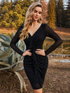 Sexy Short Long Sleeve Plus Size V Neck Cocktail Dress-Black 1