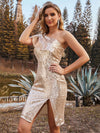 Sparkly Knee Length Bodycon One-Shoulder Evening Dress-Rose Gold 3