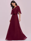 Elegant Flutter Sleeve V-Neck A-Line Floor Length Evening Dress-Burgundy 3