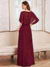 Elegant Flutter Sleeve V-Neck A-Line Floor Length Evening Dress-Burgundy 2