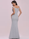 Floor Length Fishtail Evening Dress With Off-Shoulder Straps-Grey 5